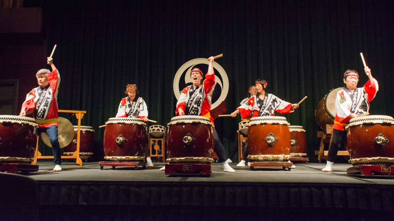 Sacramento Taiko Dan  drummers perform traditional Japanese drum beats at the last Wednesday nooner of the semester in the University Union Redwood Room on May 3. (Photo by Matthew Dyer)