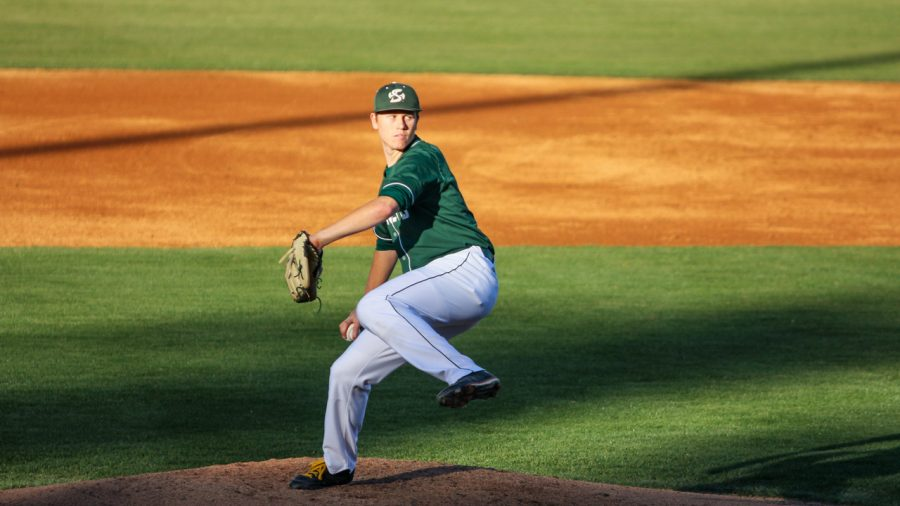 Sacramento State freshman pitcher Parker Brahms throws the ball for a strike against CSU Bakersfield on April 29 at John Smith Field. Brahms was named the Western Athletic Conference Pitcher of the Week for the period of April 17-23.  (Photo by Andre Newell)
