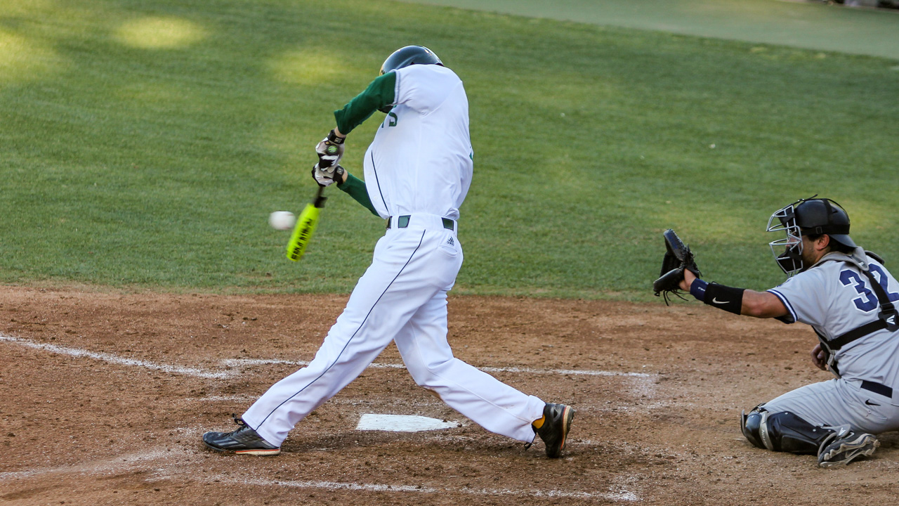 Sacramento State senior Trent Goodrich swings and makes contact against the Nevada Wolf Pack Tuesday at John Smith Field. (Photo by Max Jacobs)