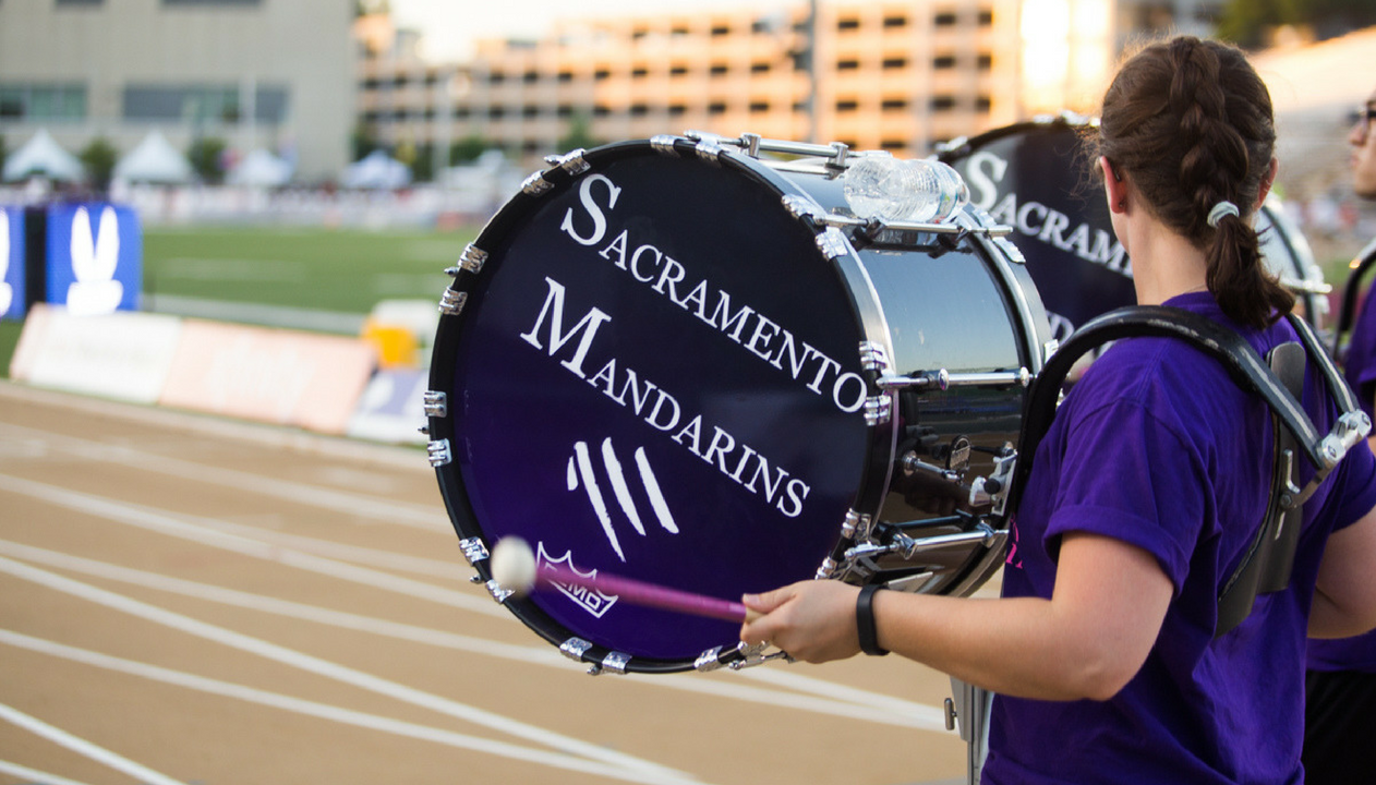 The Sacramento Mandarins Drum and Bugle Corps performs during the USA Track and Field Outdoor Championships Thursday at Sacramento State's Hornet Stadium. (Photo by Nicole Fowler)
