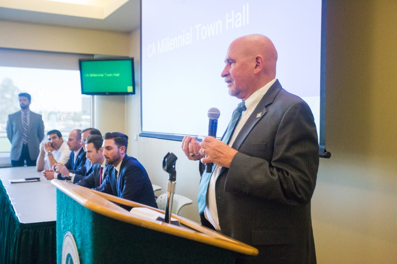 Sacramento State President Robert Nelsen was one of the first speakers at the first Millennial Caucus at The Well's Terrace Suite on Tuesday. The town meeting was a chance for Sac State students and the community to discuss contemporary issues among the millennial generation. (Photo by Nicole Fowler)