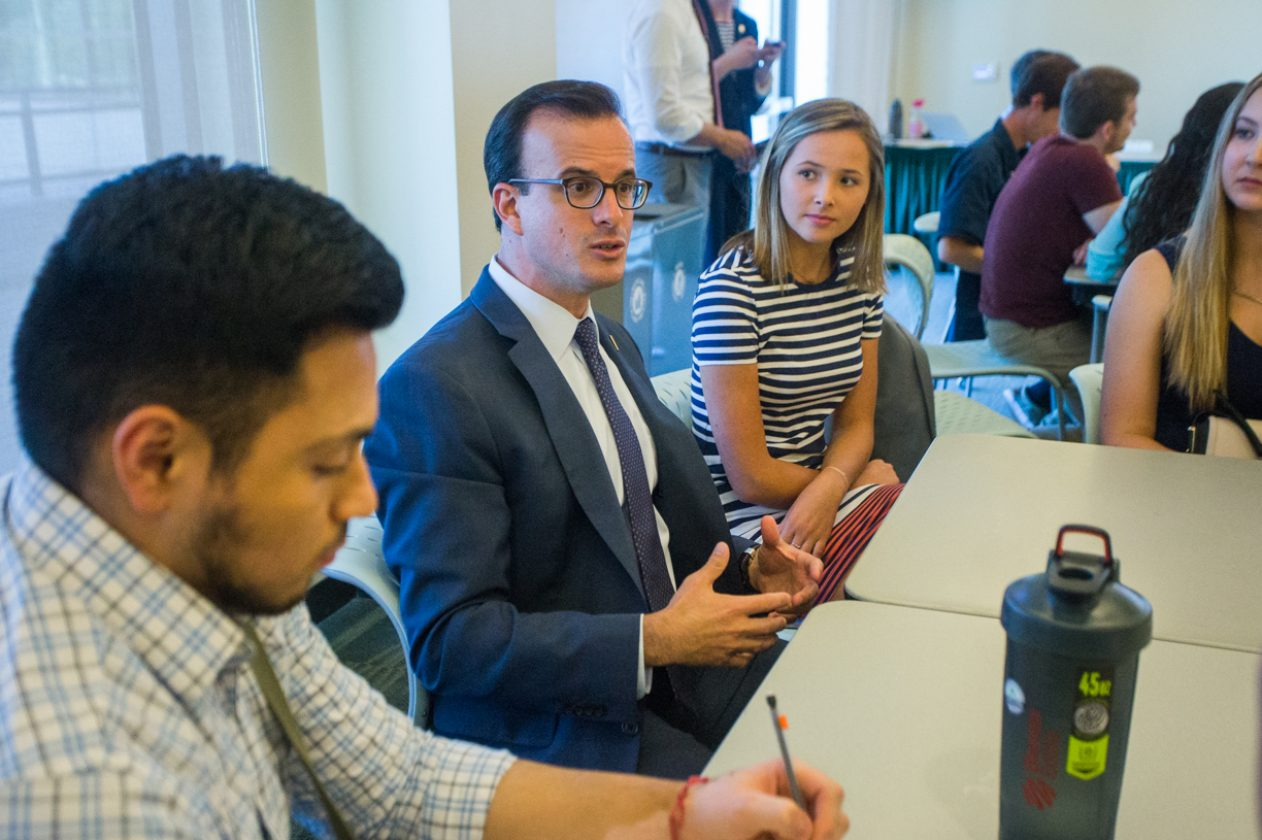 Assemblyman Marc Berman addresses concerns to his group during the first Millennial Caucus on Tuesday. The town meeting-styled discussion was meant for legislators to speak with the community about issues such as student debt, housing, and education. (Photo by Nicole Fowler)