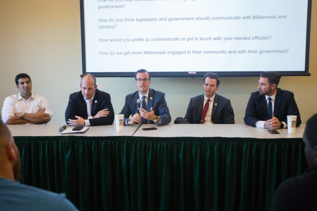 From left, Assemblymembers Matt Dababaneh, Heath Flora, Marc Berman, Kevin Kiley and Ian Calderon answer questions from community members Tuesday in The Well's Terrace Suite at Sac State. (Photo by Nicole Fowler)