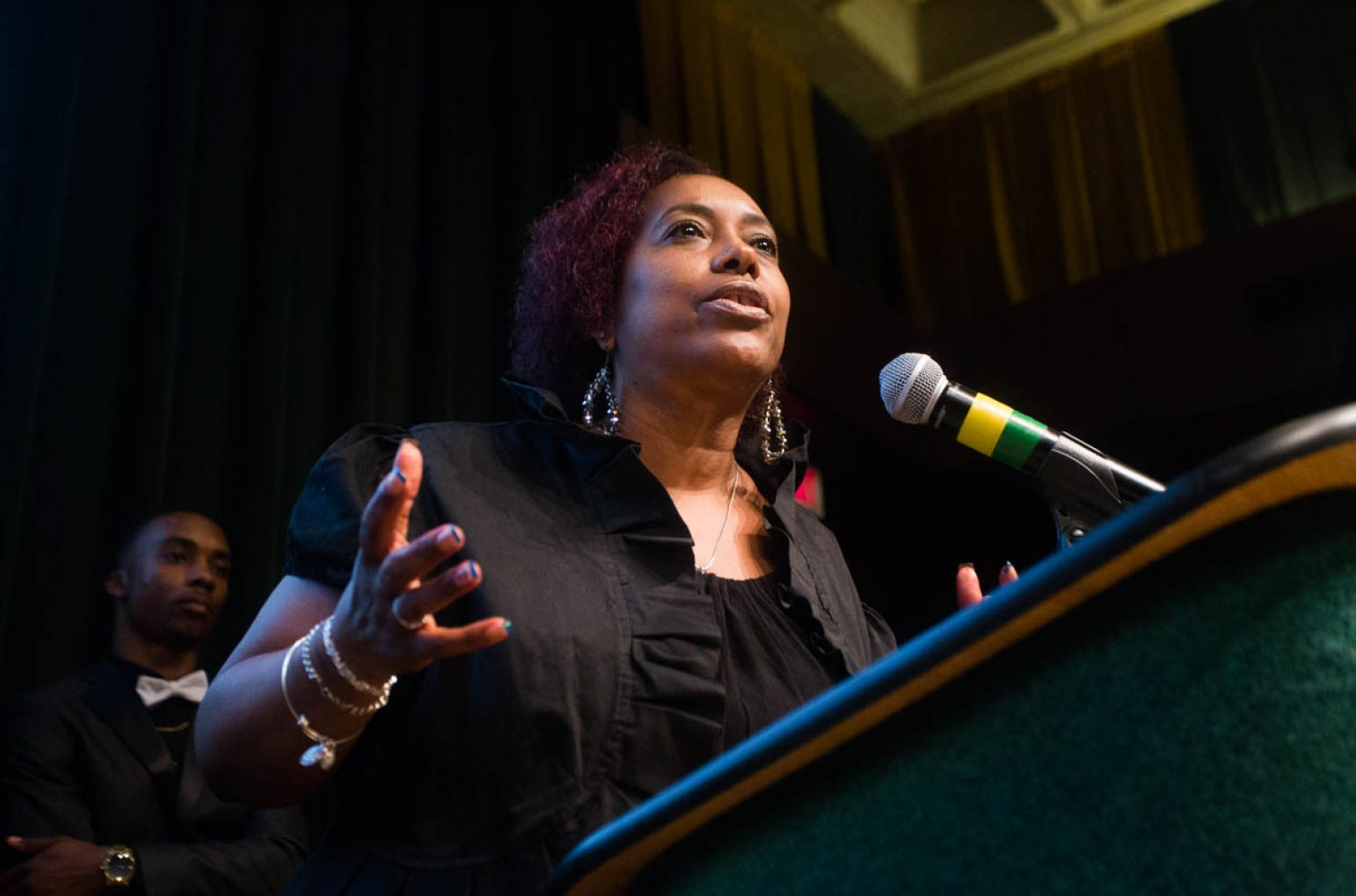 Yvonne Alexander, mother of the late Isaiah Alexander, speaks during a presentation of the Isaiah Alexander Award in the University Union Redwood Room on July 9. Her son, an active member of the Sac State community, died of kidney cancer earlier this year. A scholarship has been set up and awarded in his memory. (Photo by Nicole Fowler)