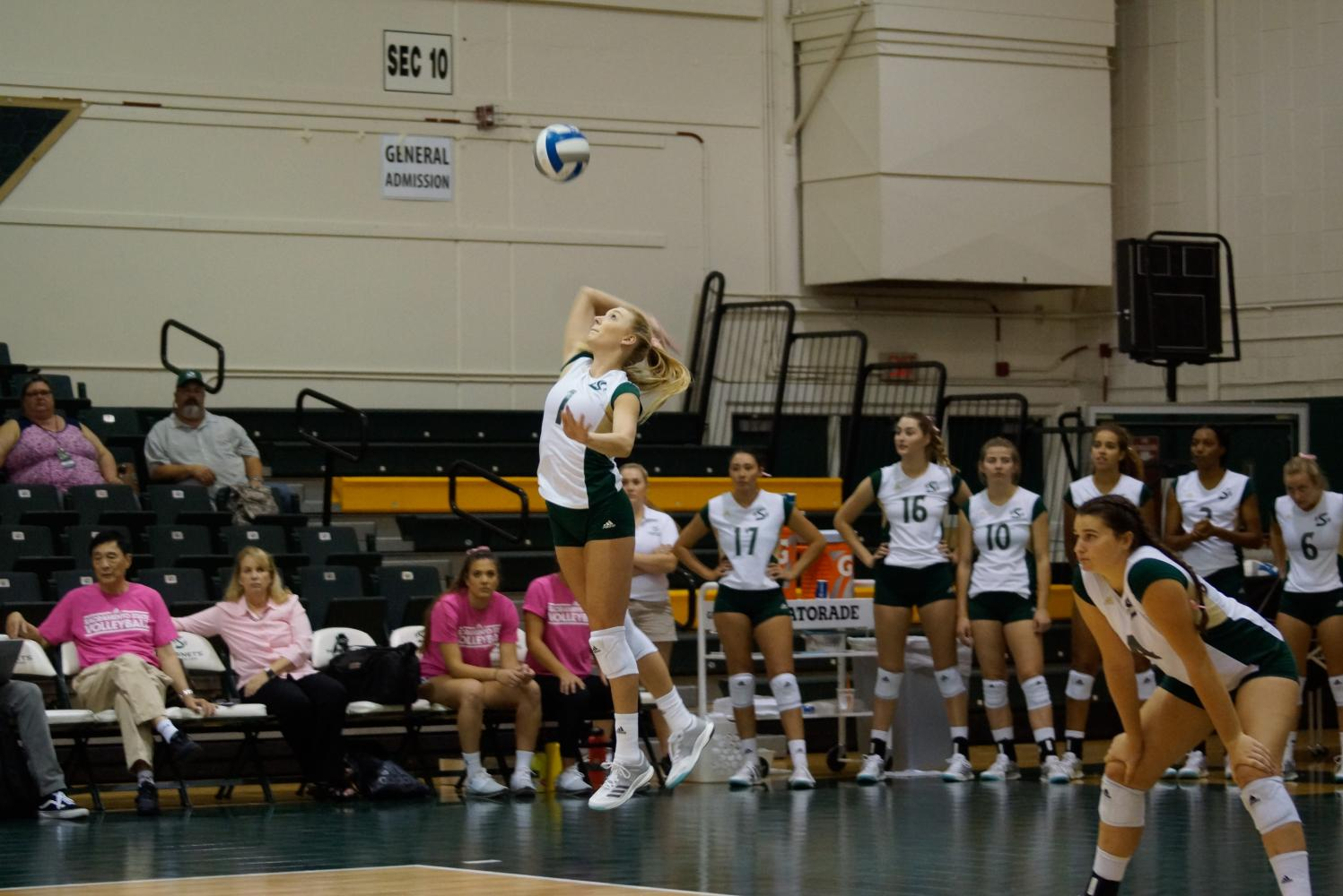 Sacramento State senior setter Kennedy Kurtz serves the ball against the University of San Francisco Sept. 12 at Colberg Court. Sac State defeated San Francisco in four sets, 3-1.