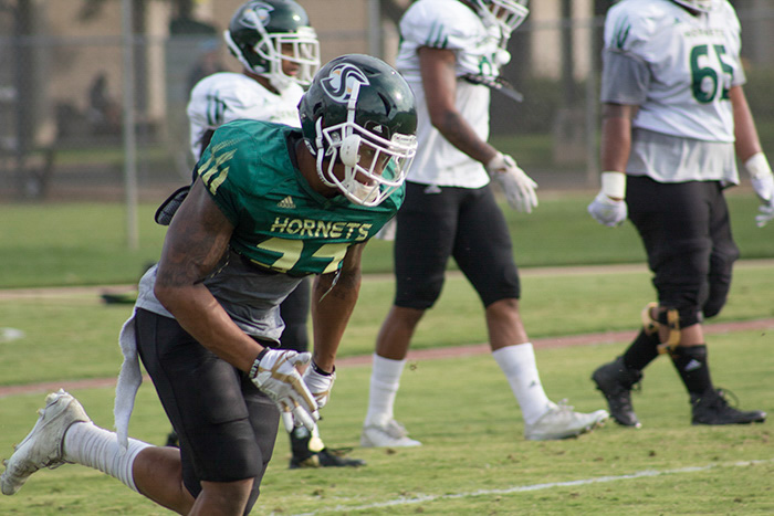 Sacramento State junior cornerback Dre Terrell runs during a sprinting drill Sept. 12 at the practice field. Terrell earned FCS Defensive Player of the Week honors after recording three interceptions against the University of Incarnate Word Sept. 9 at Hornet Stadium.