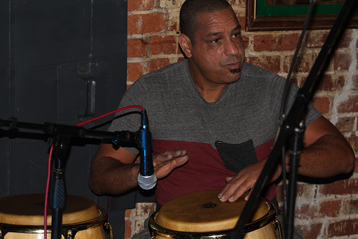John Webster plays percussion for the Bongo Furys at Fox and Goose Pub on Sept. 15. The band will play at Sacramento on Sept. 27.