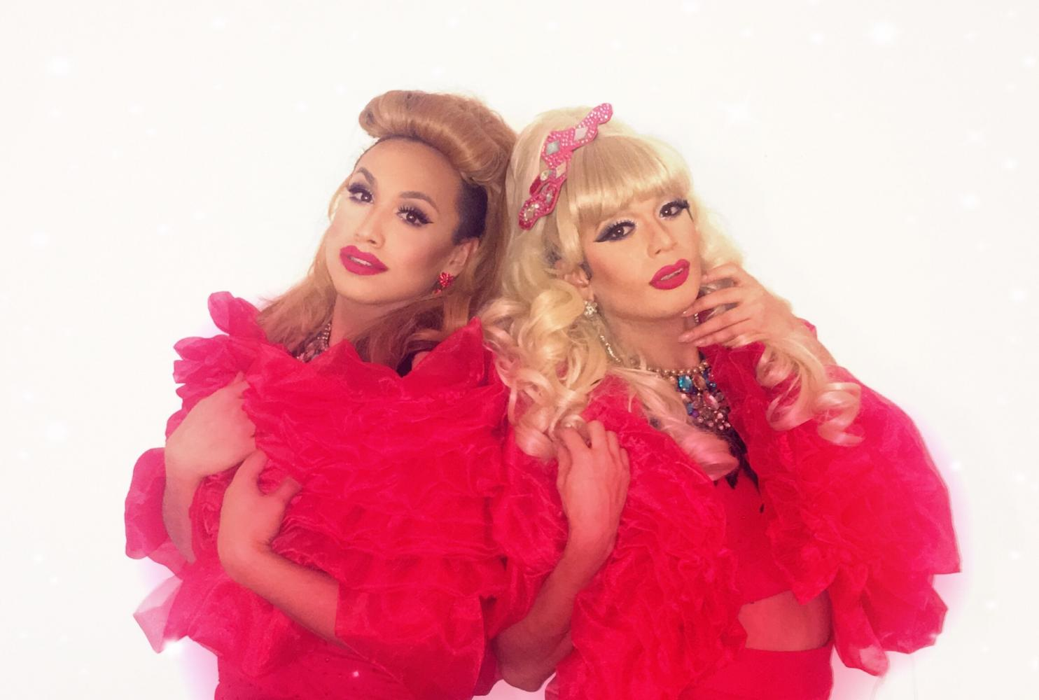 Tatianna, left, and Adriana Diamond, right, don matching red ensembles for a Christmas Day show at Faces Nightclub in 2016. The event was a benefit held for LGBTQ+ families in the community who did not have a place to go to during the holiday.