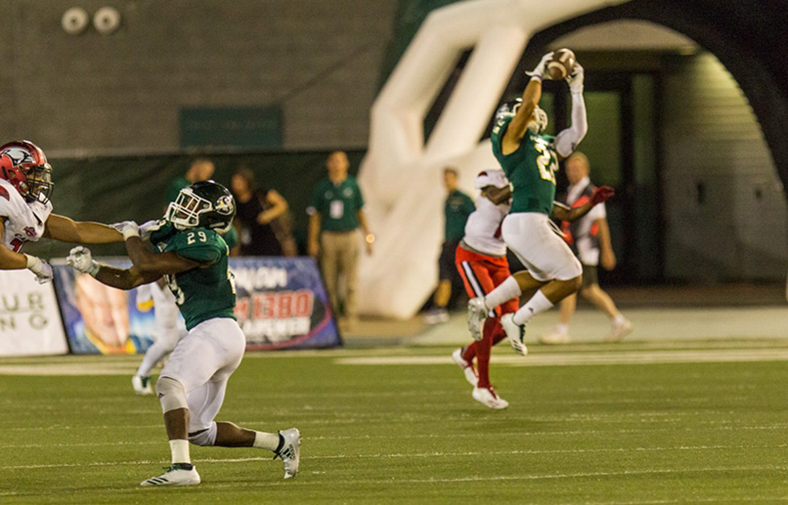 Sacramento State freshman linebacker Miguel Garcia intercepts the ball from the University of the Incarnate Word Saturday, Sept. 9 at Hornet Stadium. Sac State won 56-22 and advanced to 1-1 on the season.