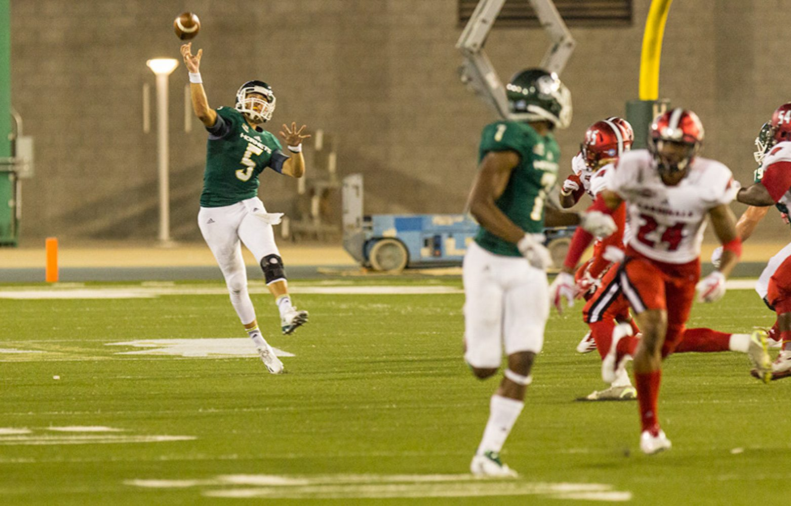 Sacramento State junior quarterback Kevin Thomson throws downfield to junior receiver Andre Lindsey against the University of Incarnate Word Saturday, Sept. 9 at Hornet Stadium. Lindsey finished with four catches for 176 yards and one touchdown.
