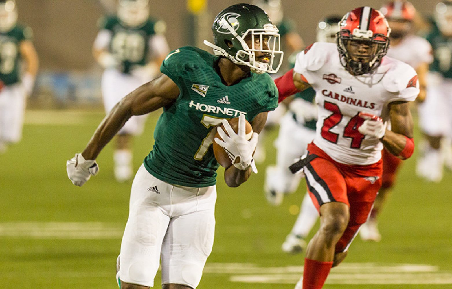 Sacramento State junior receiver Andre Lindsey out runs University of Incarnate Word sophomore safety Chris Thomas for a touchdown Saturday, Sept. 9 at Hornet Stadium. Sac State defeated UIW 56-22 for its first win of the season.