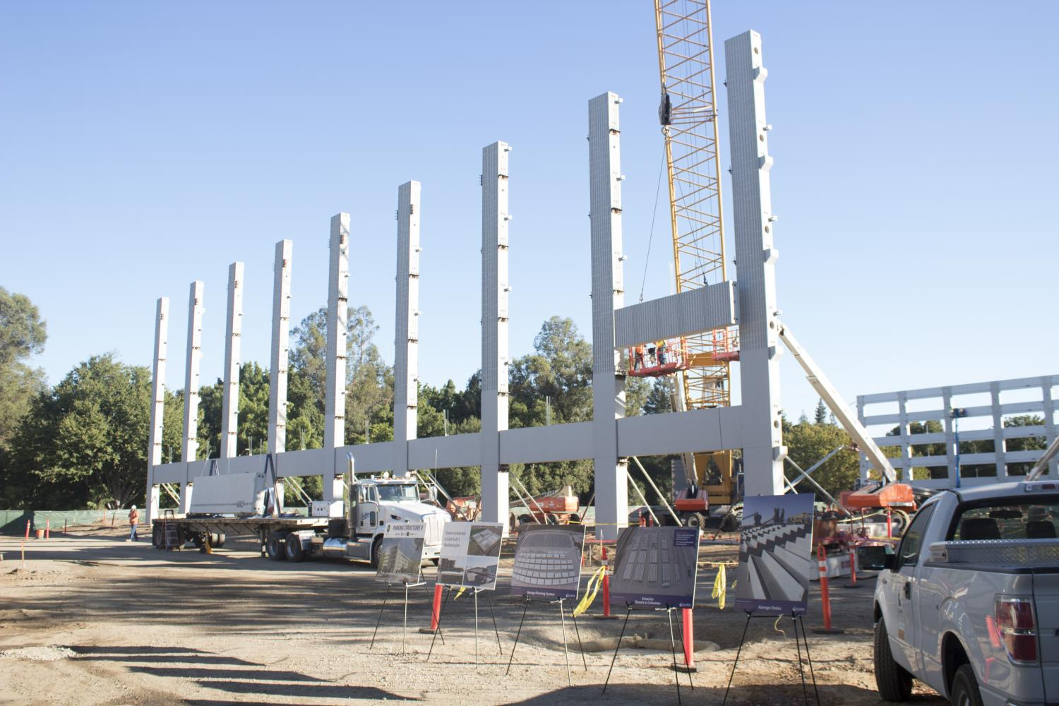 Pillars for the new Parking Structure V are shown to the media at Sacramento State, Sept. 20.