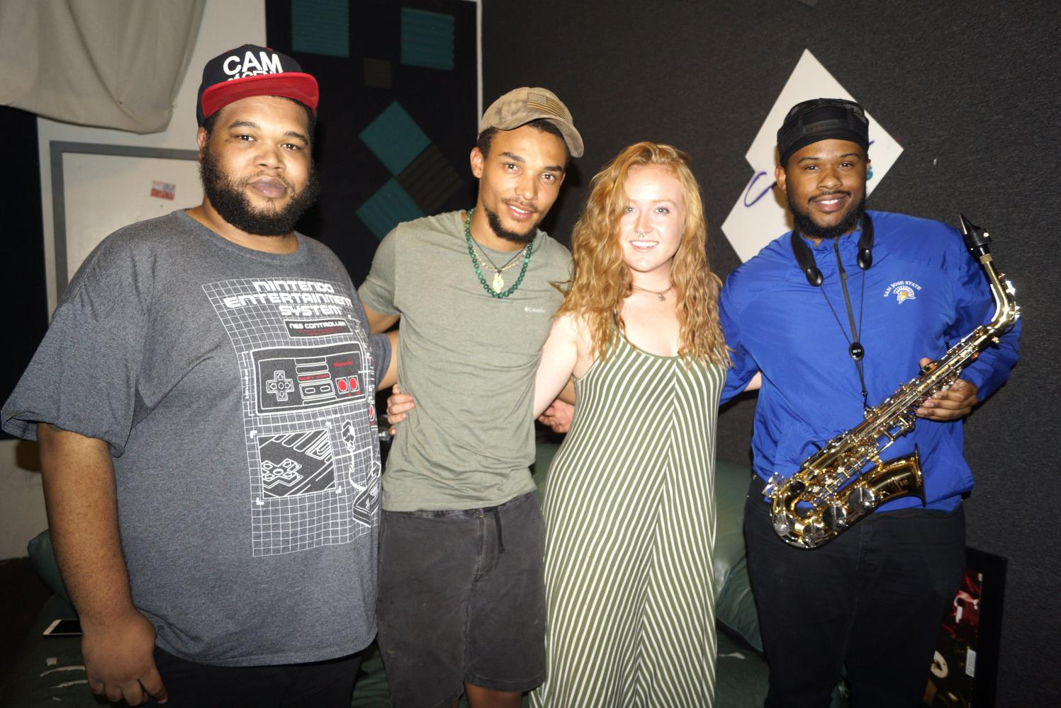 Left to right, Cameron McCord, Theo Scott-Femenella, Madison Rane Montgomery and Myles Taylor meet for practice at Collective Record Studios on Sept. 13. McCord and Myles are members of Freequensee and will perform alongside Scott-Femenella on Sept. 22 at The Boardwalk.