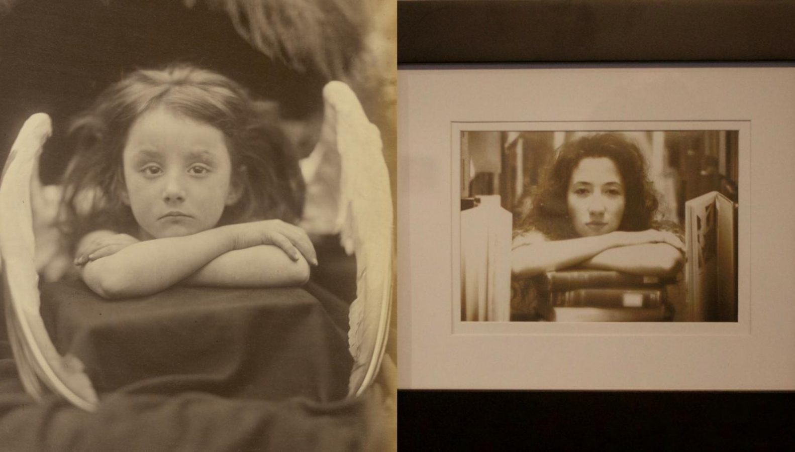 """Left, the original """"I Wait"""" photograph by Julia Margaret Cameron. Right, Marley Roush sits in the library with her arms crossed over a stack of books in her self portrait, """"I Wait for Finals."""" The work portrays Roush's identity as a college student during finals week. (Left: Courtesy by The J. Paul Getty Museum / Wikimedia Commons // Right: Dayla Cook — The State Hornet)"""