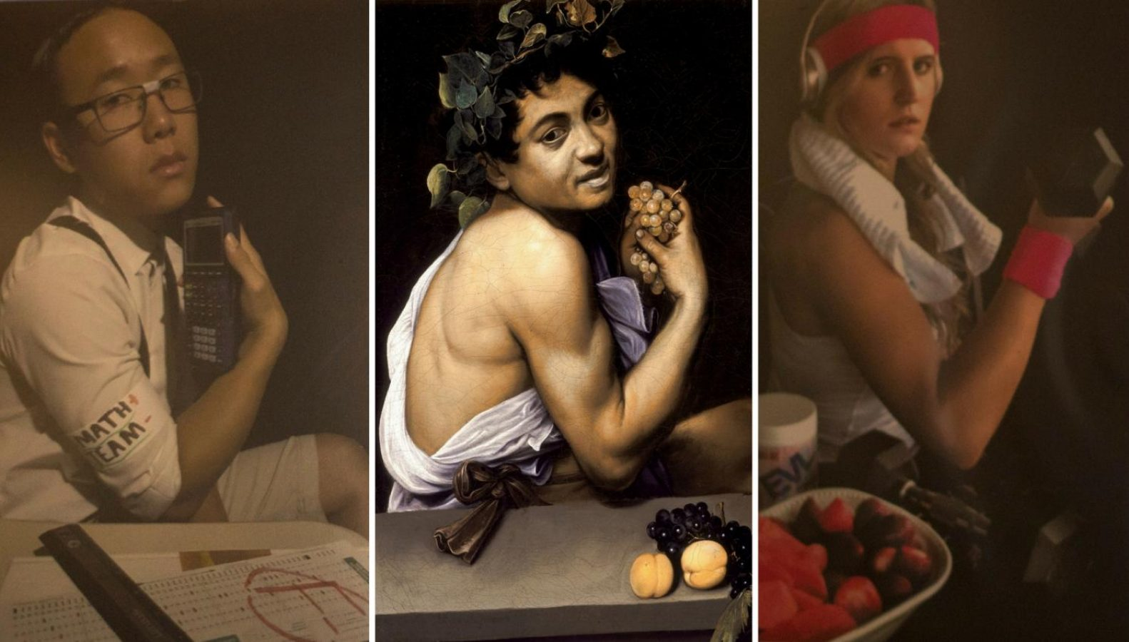 """Left, """"The Failing Honor Student"""" by Kevin Thao. Middle, the original """"Young Sick Bacchus"""" by Italian painter Caravaggio. Right, """"Young Healthy Haley"""" by Ashley Johnson. (Sharlene Phou — The State Hornet)"""