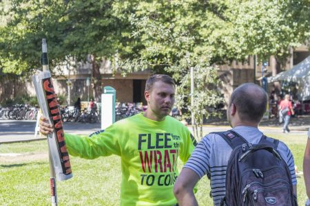Student preacher draws crowds with controversial remarks