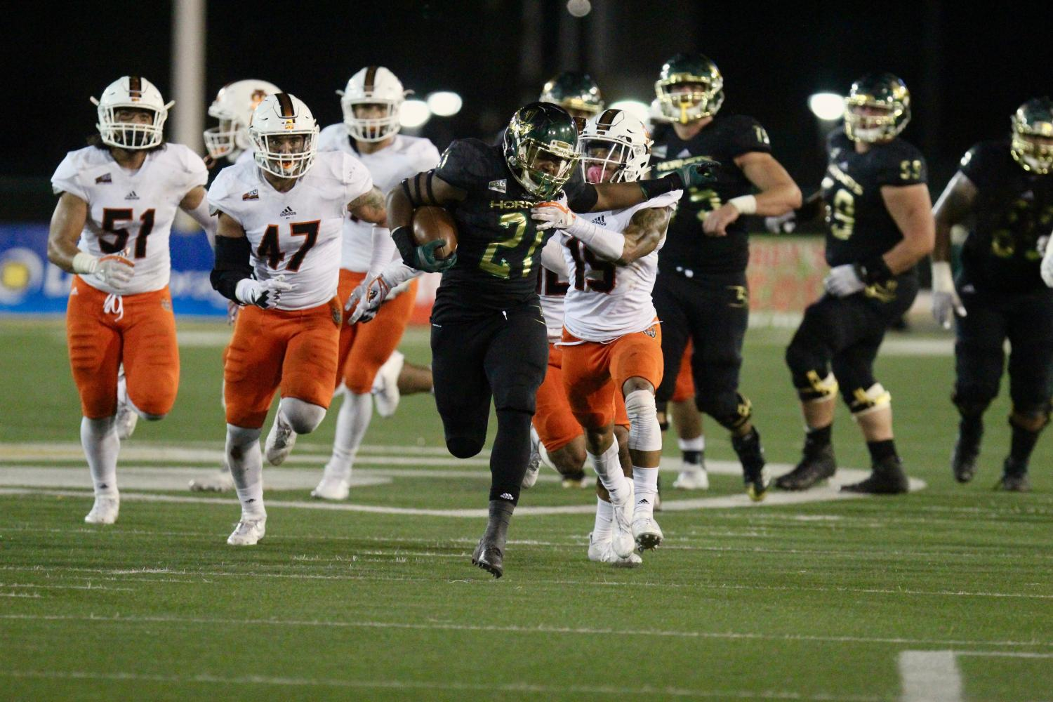 Sacramento State freshman running back BJ Perkinson tries to break a tackle against Idaho State Saturday, Oct. 15 at Hornet Stadium. Perkinson finished with a game-high 155 rushing yards and his first career touchdown in a 41-21 homecoming win over the Bengals.