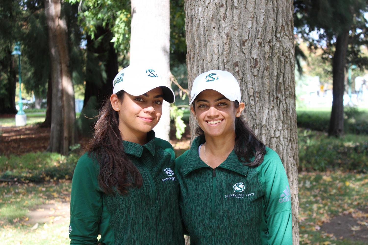 Sacramento State sophomore Nishtha, left, and senior Astha Madan, right, helped lead the women's golf team to its first Big Sky Conference Championship since 2007.