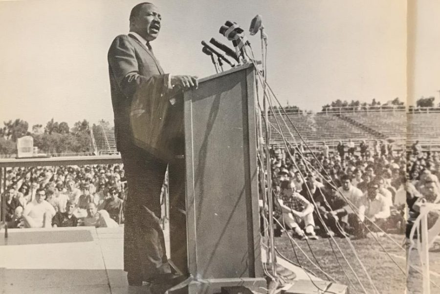 Civil+rights+leader+Martin+Luther+King+Jr.+delivered+a+speech+about+racial+inequality+in+front+of+approximately%0A7%2C000+students+at+Sacramento+State+College%2C+now+named+Sacramento+State%2C+on+Oct.+16%2C+1967.