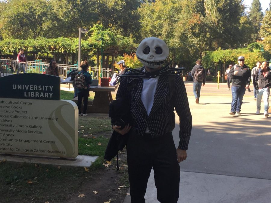 David Meininger dresses as Jack Skellington from The Nightmare Before Christmas.