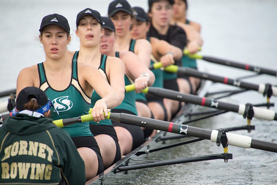 The+Sacramento+State+rowing+team+competes+in+the+Sacramento+State+Rowing+Invitational+March+12%2C+2016+at+Lake+Natoma.+The+Hornets+will+open+the+season+Saturday+in+the+Head+of+the+American+at+Lake+Natoma.
