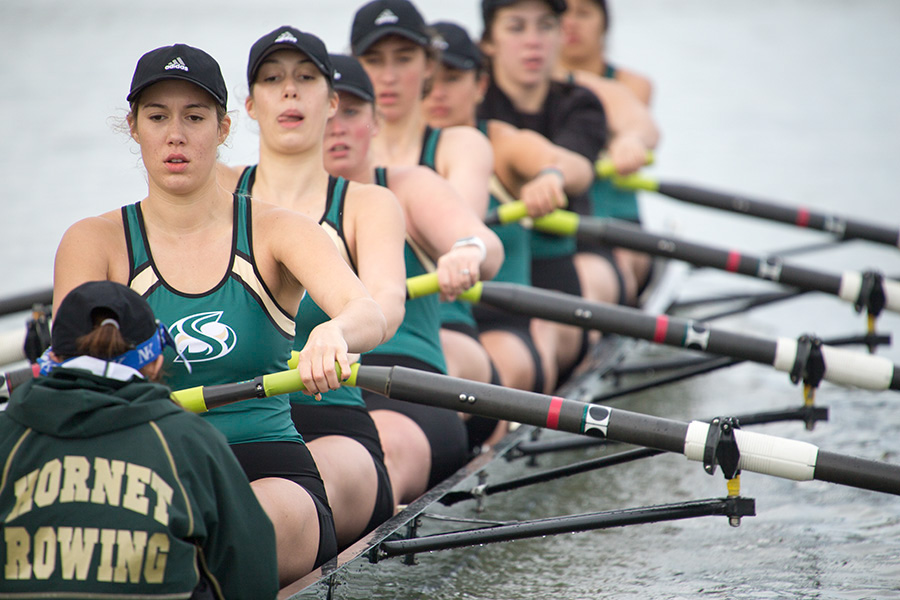 The Sacramento State rowing team competes in the Sacramento State Rowing Invitational March 12, 2016 at Lake Natoma. The Hornets will open the season Saturday in the Head of the American at Lake Natoma.