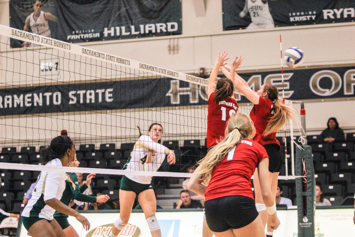 Sacramento State junior outside hitter Mikaela Nocetti records a kill in the second set against Southern Utah Thursday, Oct. 12, 2017 at Colberg Court.