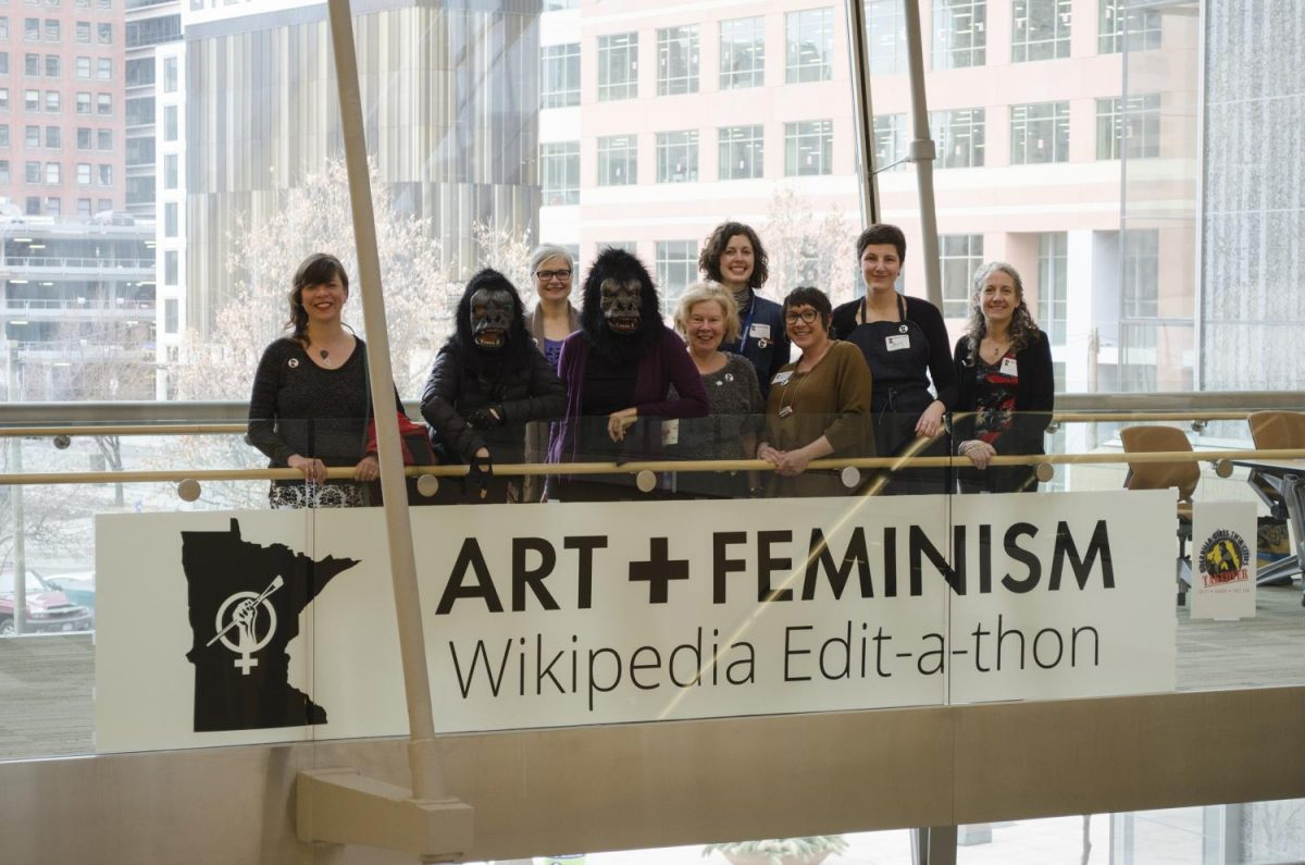 Members+of+the+Guerilla+Girls+Kathe+Kollwitz%2C+left%2C+and+Frida+Kahlo%2C+right%2C+stand+with+organizers+of+the+2016+Art%2BFeminism+Wikipedia+Edit-a-Thon.+The+Guerilla+Girls+use+humor%2C+facts+and+eye-catching+visuals+to+highlight+gender+and+racial+inequalities+in+art%2C+politics+and+pop+culture.+They+will+arrive+to+Sacramento+State+on+Oct.+5+to+host+a+lecture+about+feminism.