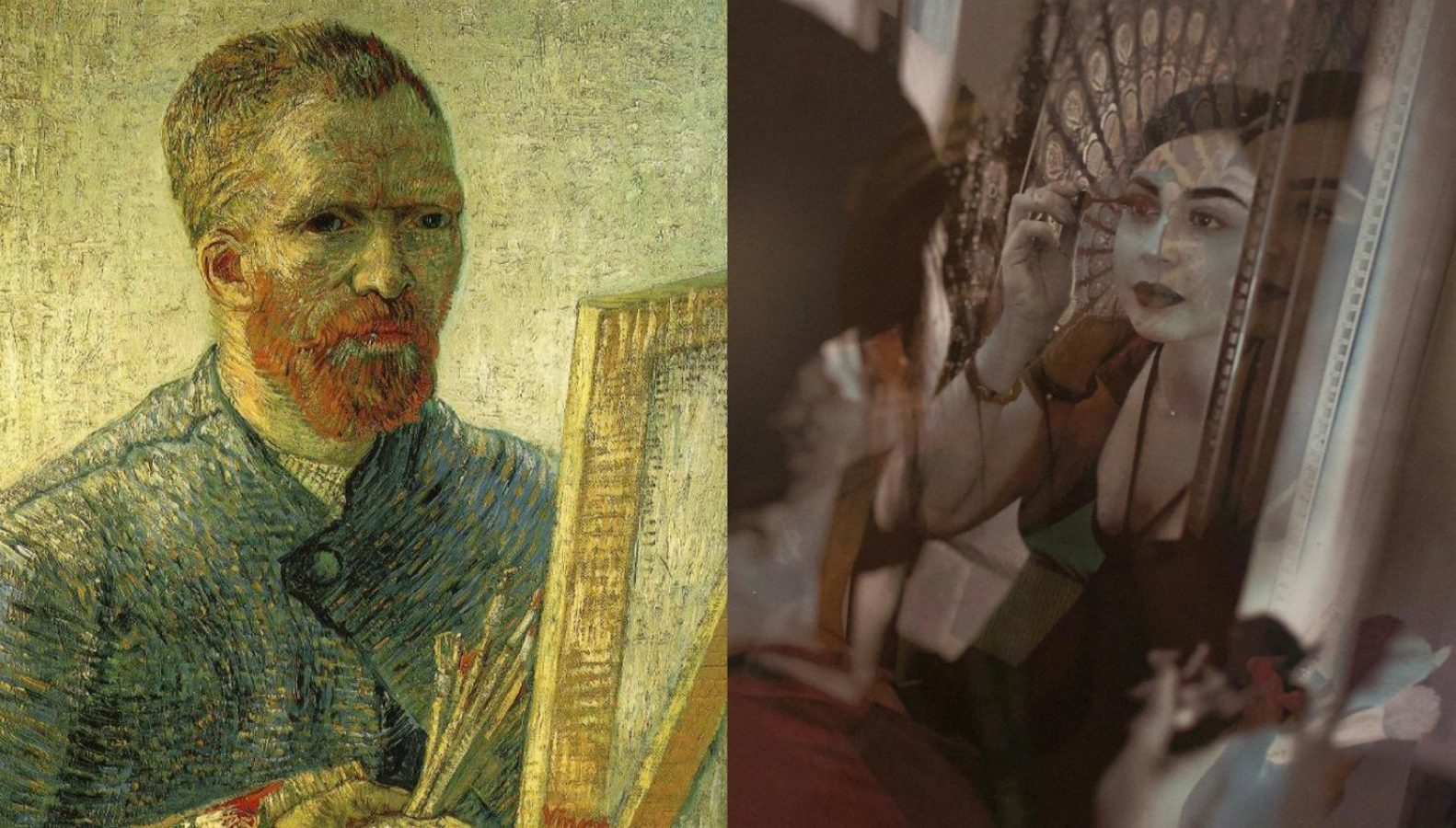 """Left, a painting of the original """"Self-Portrait as a Painter"""" by Dutch painter Vincent van Gogh. Right, Stephanie Aguilar-Gutierrez applies a coat of mascara in her self portrait, """"A Night Out."""" The photograph is an appropriation of Vincent van Gogh's self portrait painting. (Dayla Cook — The State Hornet)"""