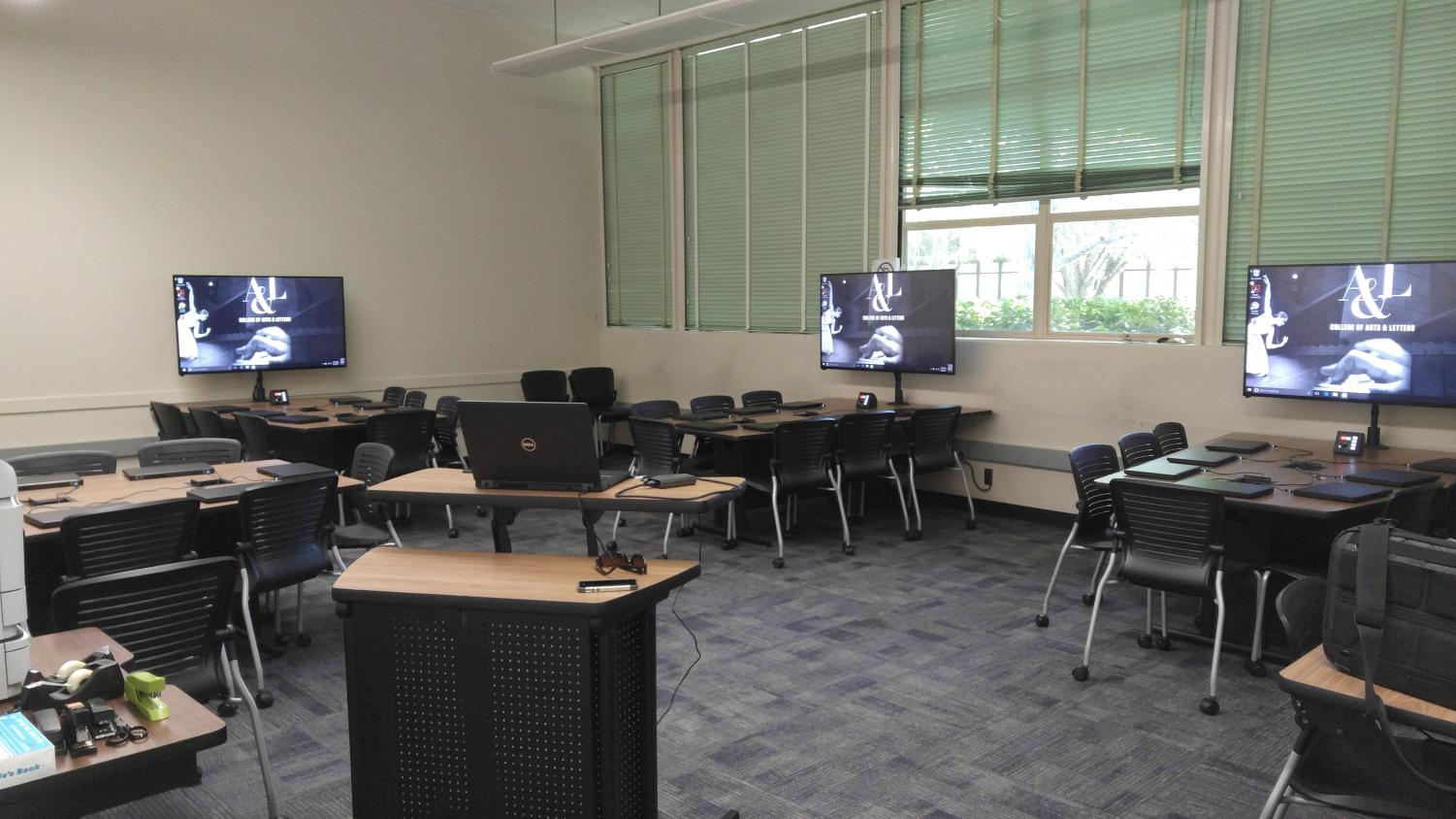Room 131 in Calaveras Hall was remodeled over last summer and opened this semester with 36 new Dell laptops, 35 of which were stolen in Oct. 2017.