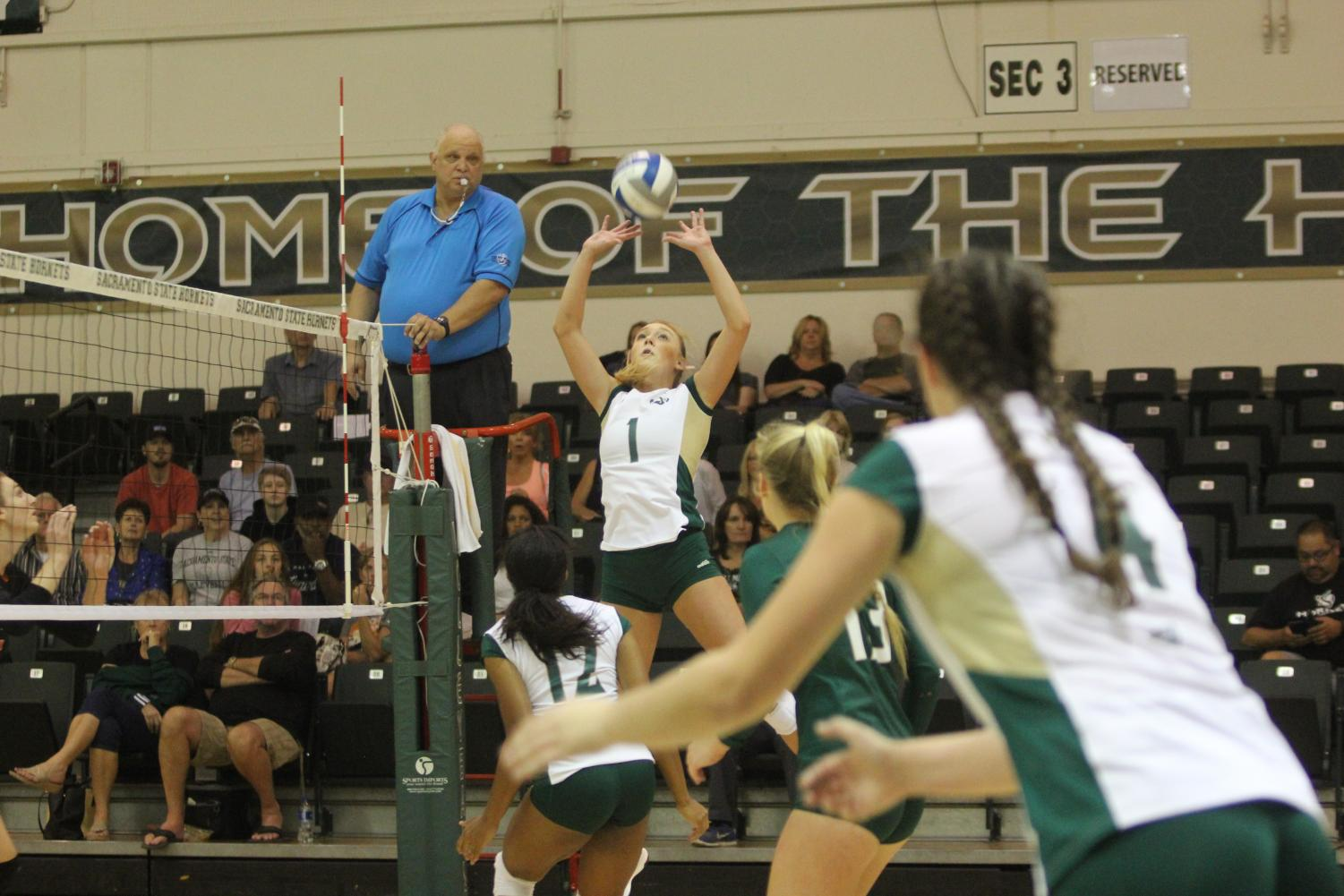 Sacramento State senior setter Kennedy Kurtz sets the ball to junior middle blocker Brie Gathright against Idaho State at Colberg Court in the Nest on Saturday, Sept. 23, 2017. The Hornets will host the Big Sky Tournament and put their 24 consecutive conference home-game winning streak on the line from Thursday to Saturday.