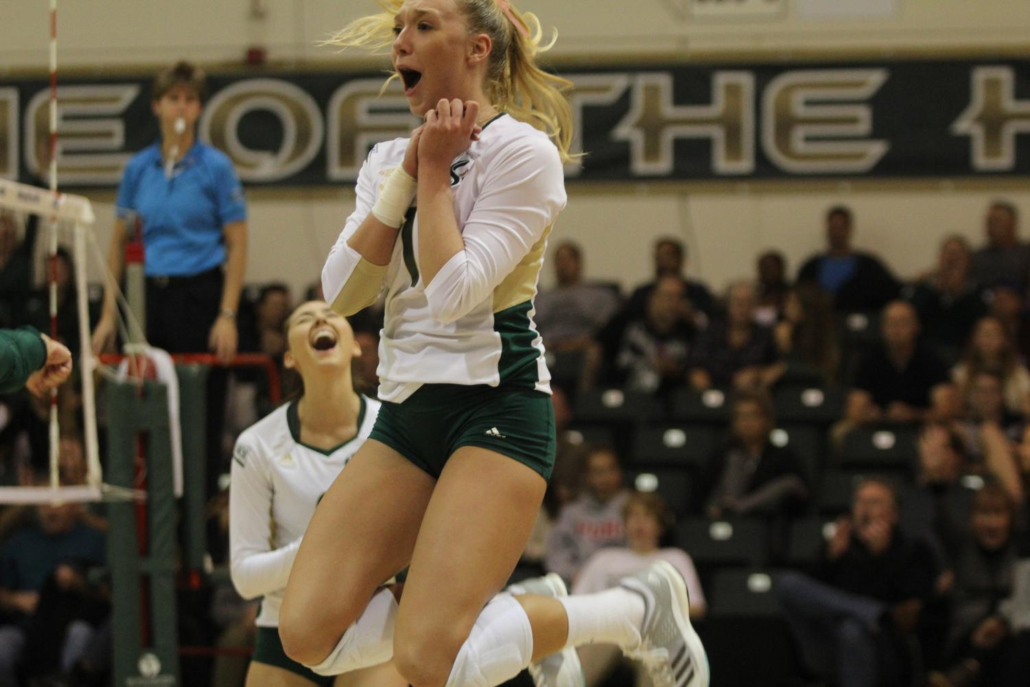 Sacramento State senior setter Kennedy Kurtz celebrates a 3-1 victory over Northern Colorado in the first round of the Big Sky Tournament Thursday, Nov. 16 at Colberg Court.