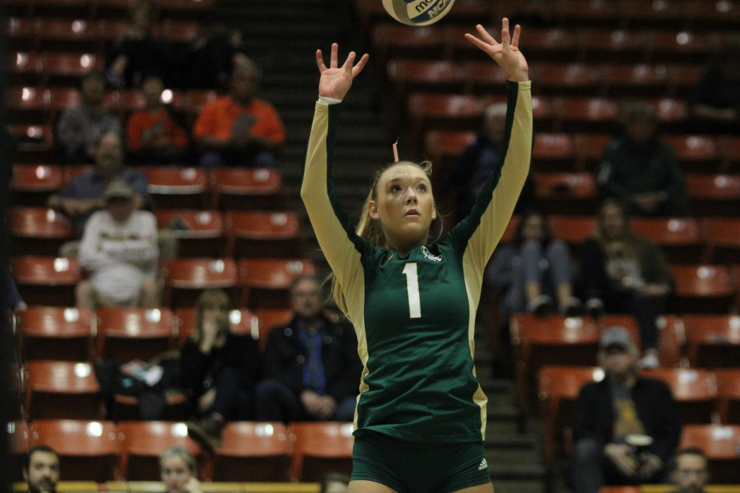 Sacramento State senior setter Kennedy Kurtz sets the ball against UC Irvine during the third set of a 3-0 loss in the National Invitational Volleyball Championship Tournament Tuesday, Nov. 28 in the Alex G. Spanos Center at the University of the Pacific.
