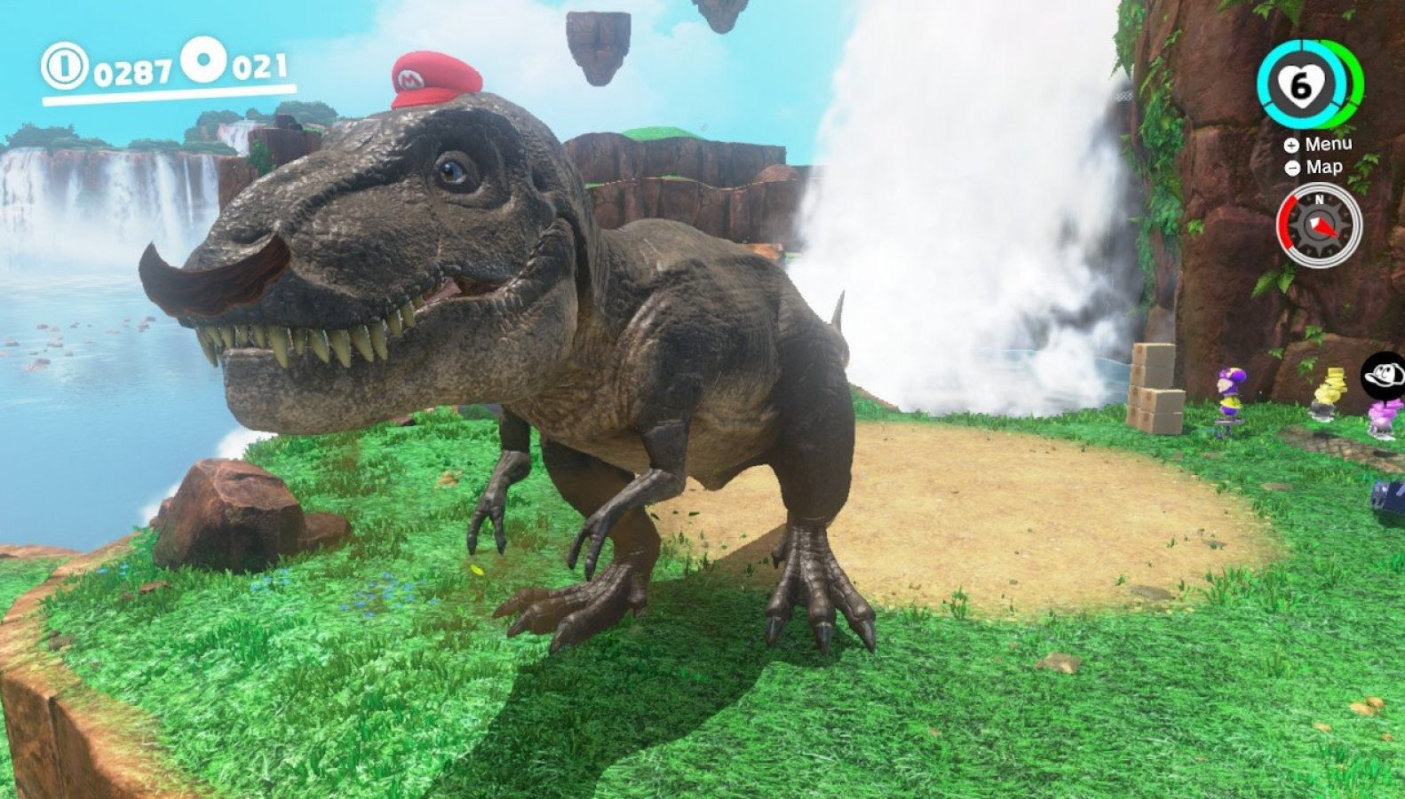 With the help of his new sidekick, Cappy, Mario can toss his hat at creatures and objects, transforming him and giving him new abilities.  When in Tyrannosaurus rex form, Mario can break stone barriers and stomp through hordes of baddies without breaking a sweat.