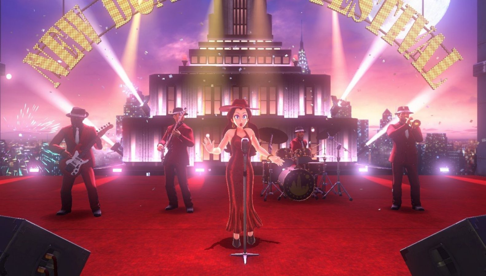 No longer the damsel in distress, Pauline (center) from the original 'Donkey Kong' game is not only mayor of New Donk City, but also quite the performer.  She sings 'Odyssey's' main theme, 'Jump Up, Superstar!' and is voiced by singer and voice actress Kate Higgins.