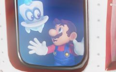 Mario and Cappy sail from kingdom to kingdom in the Odyssey, an airship powered by the nearly 1,000 Power Moons found within the game.  You can also decorate the Odyssey with in-game stickers and nick-nacks found at shops scattered throughout the kingdoms.