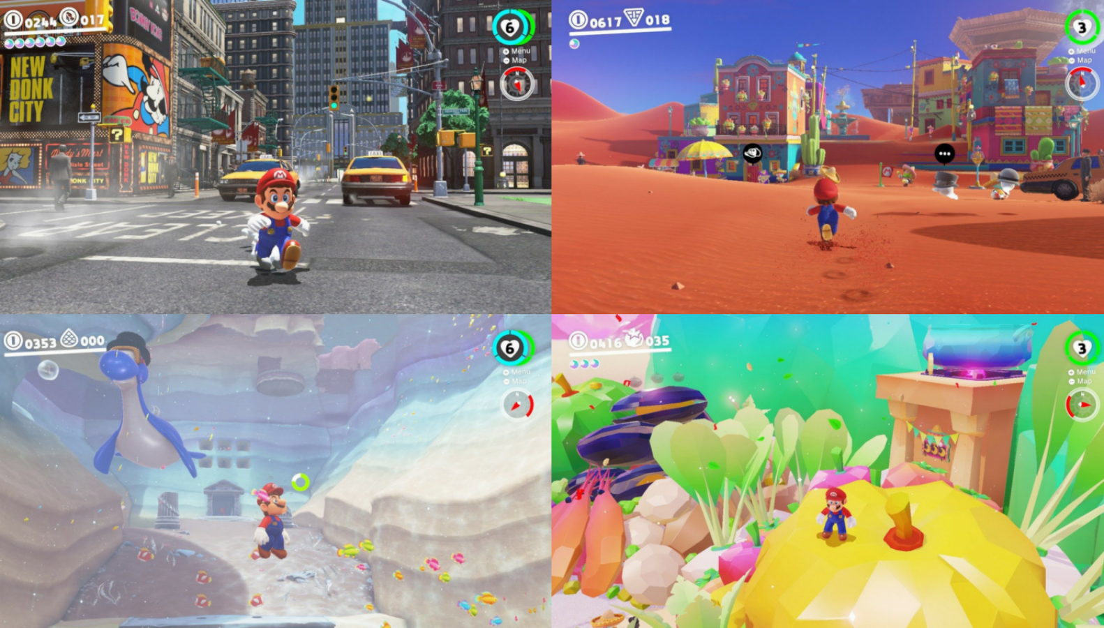 Super Mario Odyssey' has the titular hero trekking through a slew of new and creative worlds that have never been seen before in a Mario game.  New Donk City (top left), for example, features a realistic cityscape with equally realistic looking citizens.
