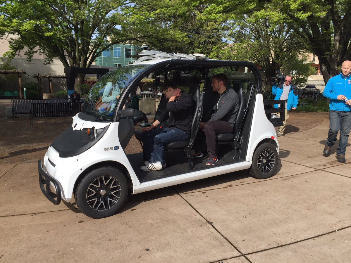 Bay Area-based Varden Labs brought the all-electric, self-driving shuttle for a two-day demo at Sacramento State in March 2016. The shuttle can seat up to four passengers — including a backup driver — and uses motion sensors to detect surrounding traffic on campus.