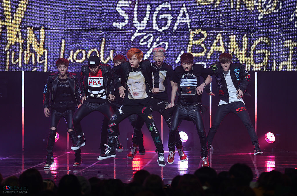 Left to right, members of Korean boy band BTS Jin, Jimin, Suga, V, Rapmon, Jungkook, J-Hope at the 2014 M.net M Countdown concert in Korea. The group made their U.S. television debut on Nov. 19 at the American Music Awards.