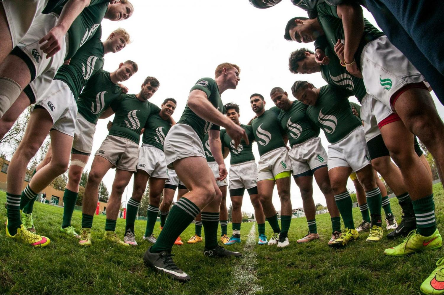 Former Sacramento State men's rugby club team captain Nick Weeder motivates his teammates before a match. The club team is currently pushing for priority registration.