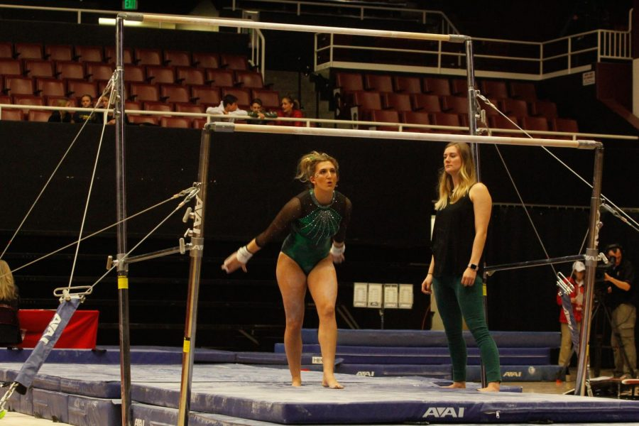 Sacramento State senior gymnast Caitlin Soliwoda prepares to start her uneven bars routine in the NorCal Classic Monday, Jan. 8 at Stanford. Soliwoda injured her heels on the landing which caused her to leave the event early and miss the next event on Jan. 12, but she made her return on Jan. 19 and scored a 38.975 in the all-around.
