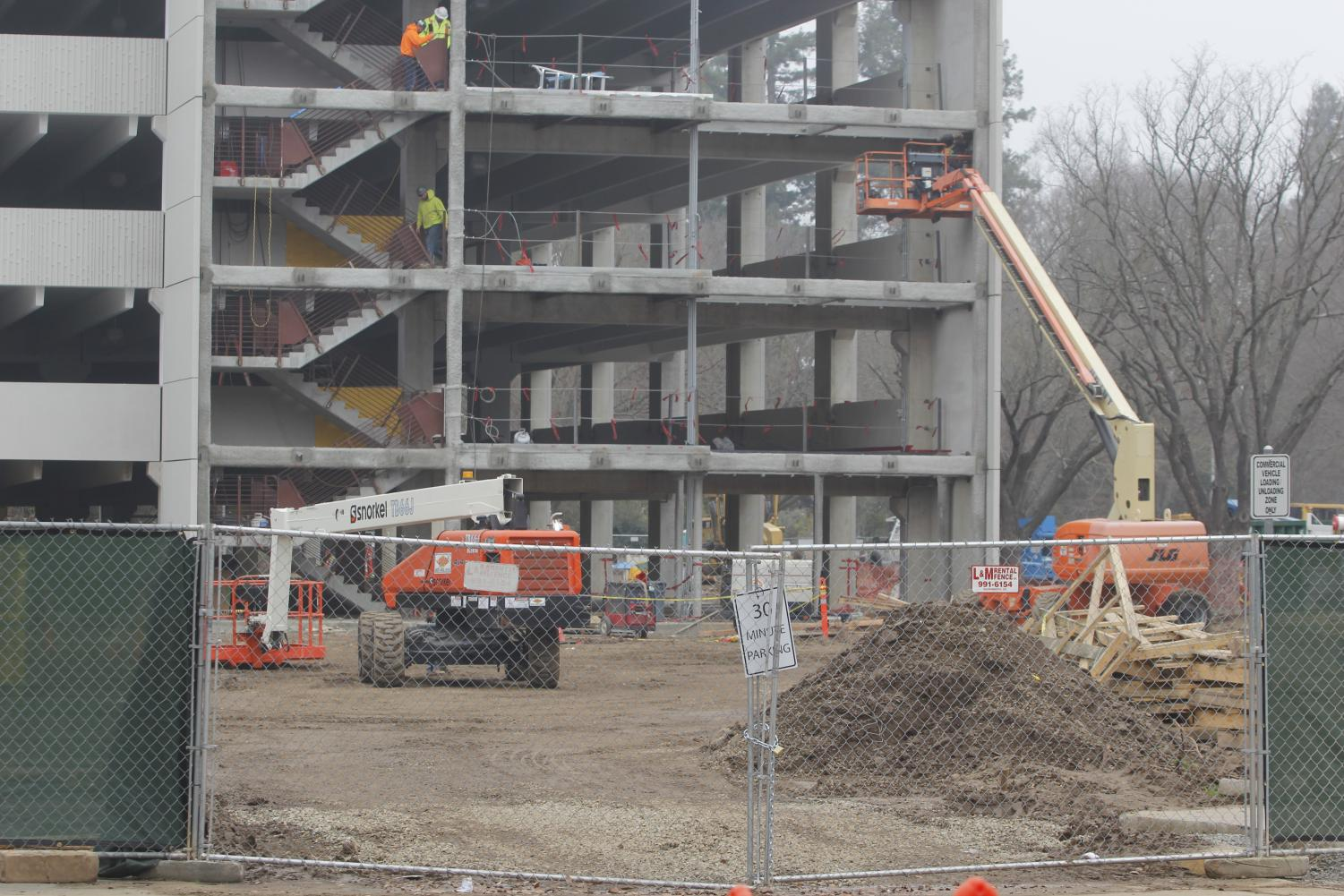 Following delays to the project, Parking Structure V is projected to open in March. An adjacent University Transportation and Parking Services (UTAPS) welcome center will move from Folsom Hall and open for the fall 2019 semester.