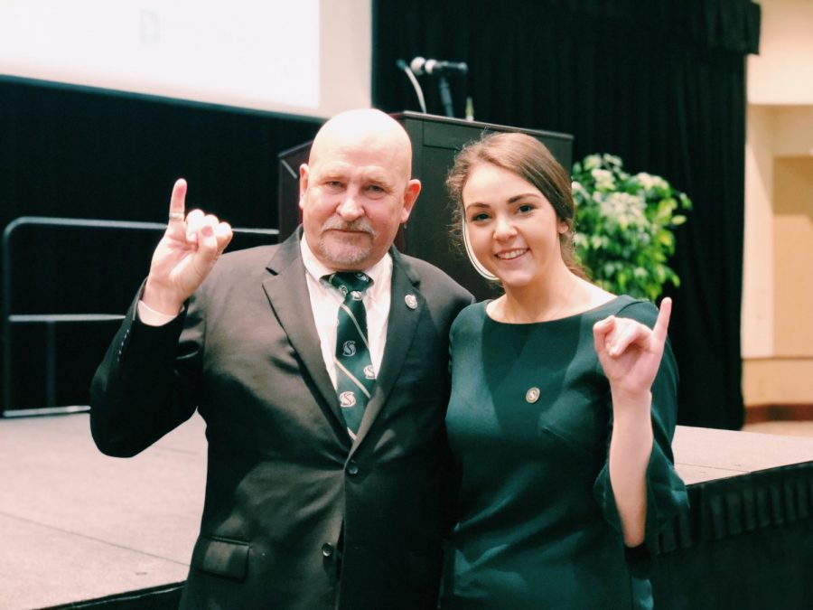 Nelsen poses with Associated Students, Inc. President Mia Kagianas at the president's spring address. Nelsen expressed disappointment with Governor Brown's proposed funding for the University in California's  2018-2019 budget.