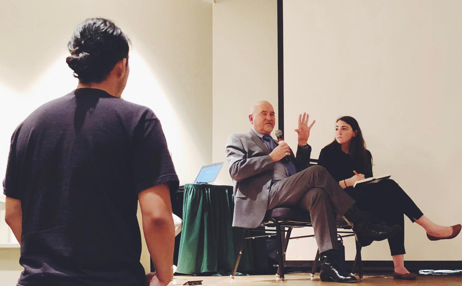Sacramento State President Robert Nelsen and Associated Students, Inc. President Mia Kagianas answer questions during the tuition forum Feb. 8.