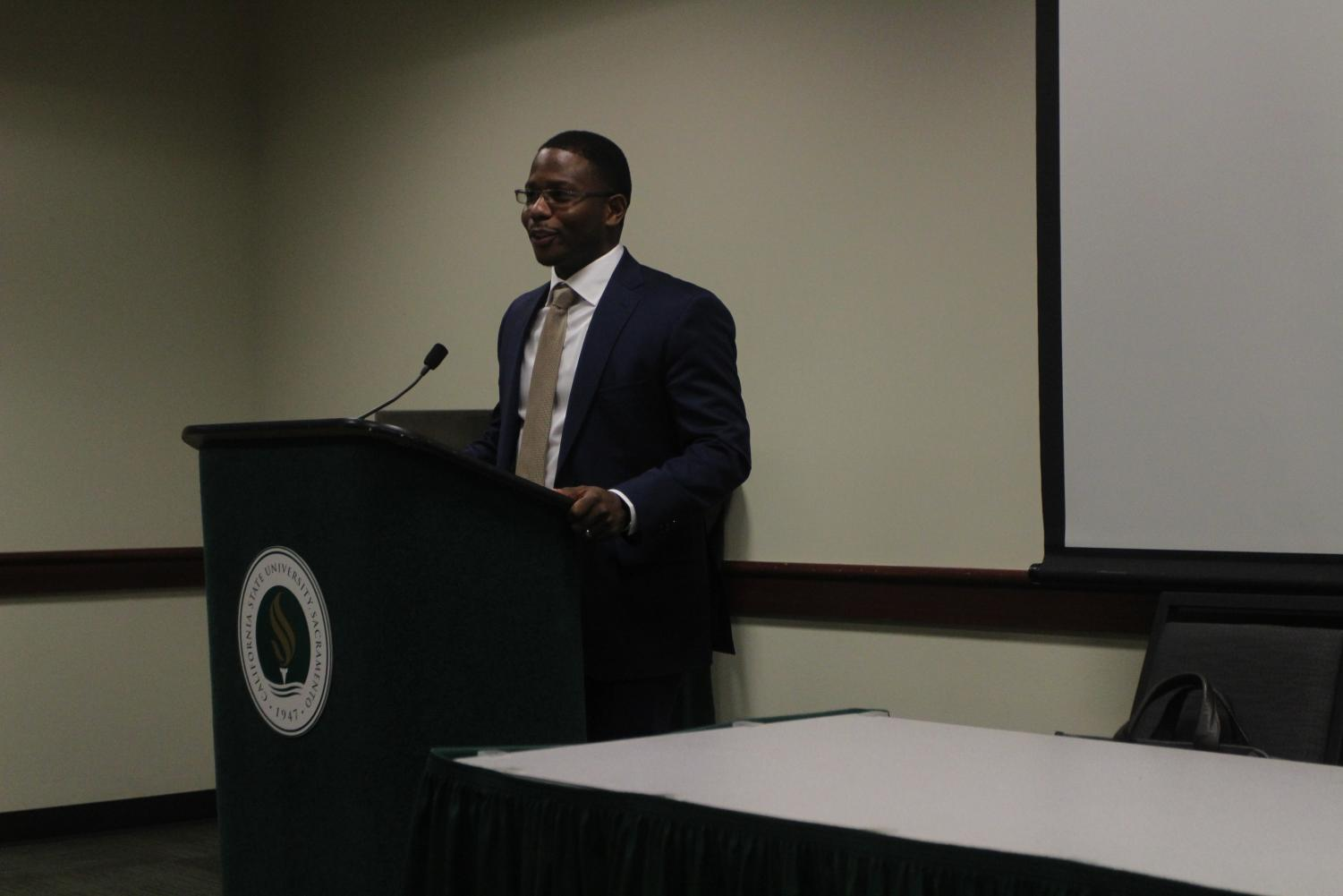 Micah Grant, a Natomas Unified School District trustee, speaks at a Carter G. Woodson lecture in the Orchard Suite at Sacramento State on Feb. 20, 2018. Grant showcased his personal experiences both professionally and personally in order to promote a positive outlook on the double-conscious mind.