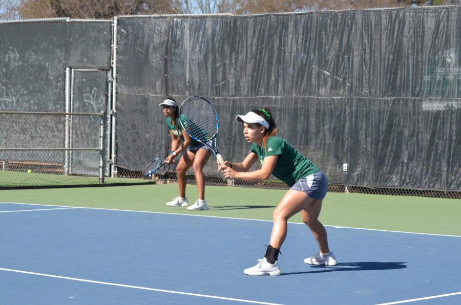 Sacramento State junior Sofi Wicker and freshman Shamika Dhar prepare to compete against Saint Mary's College in the No. 3 doubles match at the Sacramento State Courts. Wicker and Dhar lost the match 6-2.