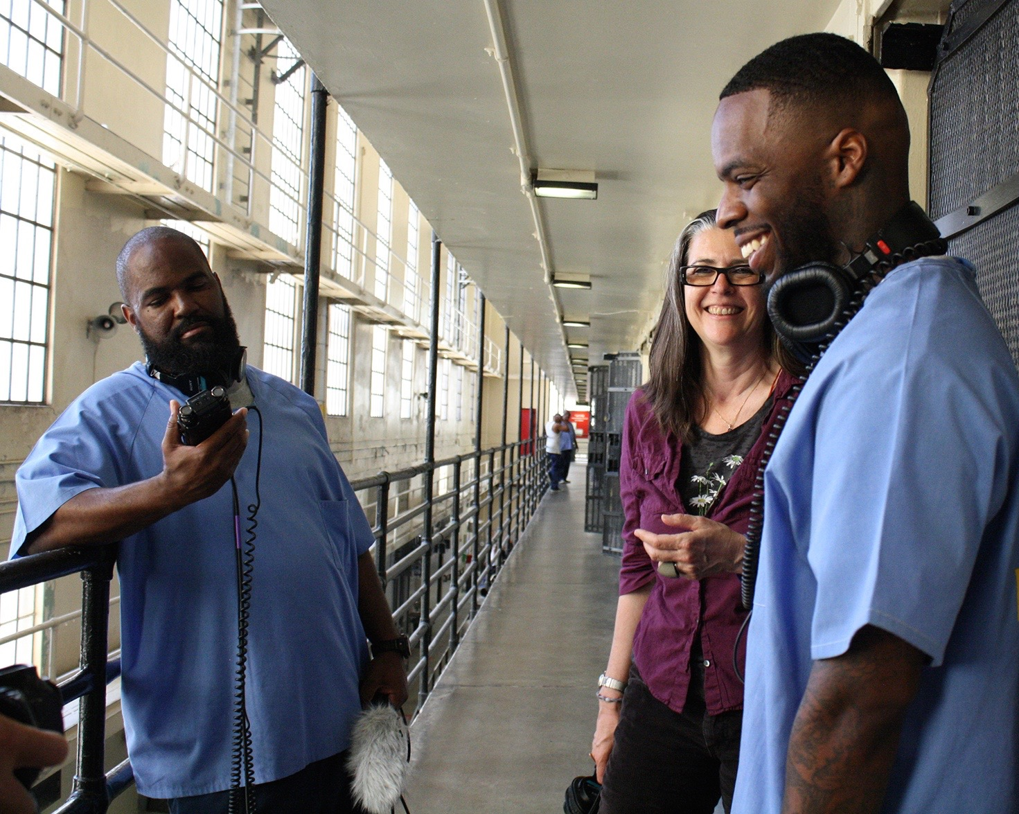 (Left to right) Earlonne Woods, Nigel Poor and Antwan Williams record their podcast from inside San Quentin State Prison. The second season launches in March.