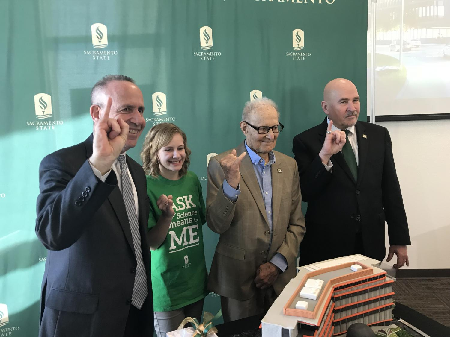 From left, Sacramento Mayor Darrell Steinberg, Elizabeth Gabler, Ernest Tschannen and President Robert Nelsen are on hand for Tschannen's donation to Sacramento State on Feb. 16. Tschannen gave a $9 million donation, the highest in Sac State history, which will go toward paying for part of the Science II construction project.