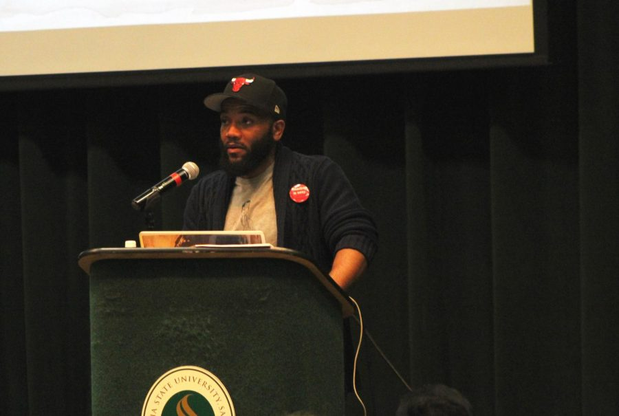 Dr. A.D. Carson, professor of hip-hop at the University of Virginia, during his lecture that took place in the Union Redwood Room Feb. 12.