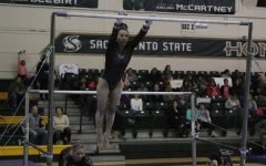 Gymnastics team records season high, wins tri-meet with 195.400 score